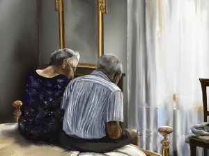 An elderly couple sits on the edge of there bed with their heads bent forward.