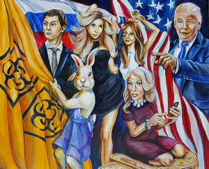 A Rabbit attempting to draw a bright yellow curtain with a toxic nuclear symbol across the stage with Jared Kushner, Ivanka Trump, Melania Trump, 45, and Kellyanne Conway.