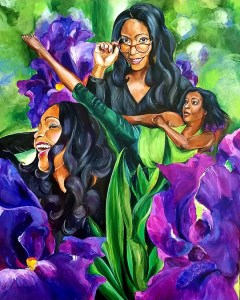 3 versions of a woman with long, raven hair nestled within bright, royal purple irises and deep green foliage: laughing, with glasses and kicking into the air in green mimicking the stalks of the flowers.