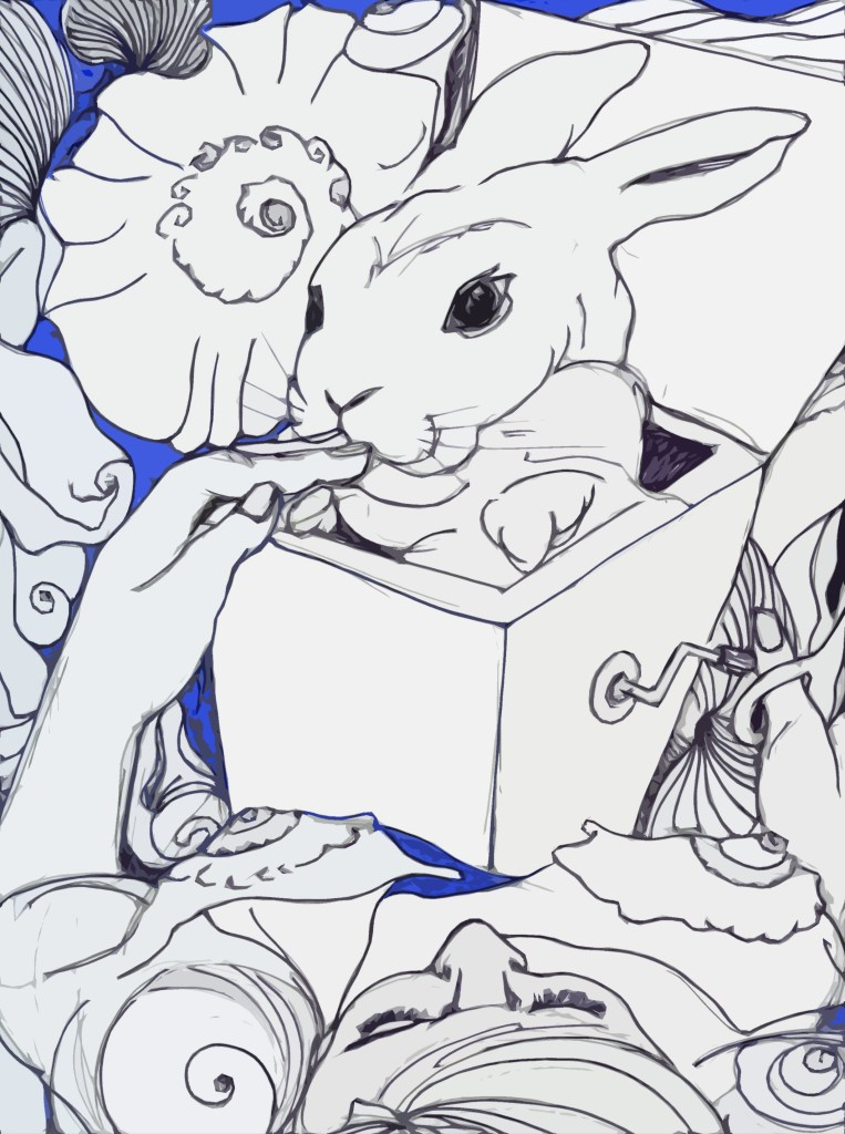 A woman holds a bunny in the box that has just sprung. Did the Bunny bite h