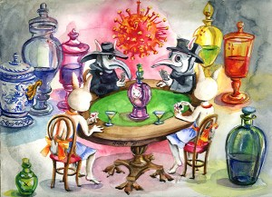 Bunny plays poker with her SEVLES. Apothecary show jars in a rainbow of colors are positioned like sentinels around the gaming table. Four versions of Bunny are waiting to reveal their cards. Two Bunnies dressed in the Plague Doctor costume sit on the opposite side of the table from two Bunnies in her usual apron outfit. Where does the true cure lie? The garish colors contribute to a feeling of chaos-- a cacophony of phantom solutions to the PANDEMIC. The transparency of the glass emphasizes a sense of illusion. The contagion spreads red from a chandelier model of the corona virus. Inspired by the Carnival masks of Venice that developed in response to the many bouts of plague in Italy's history.
