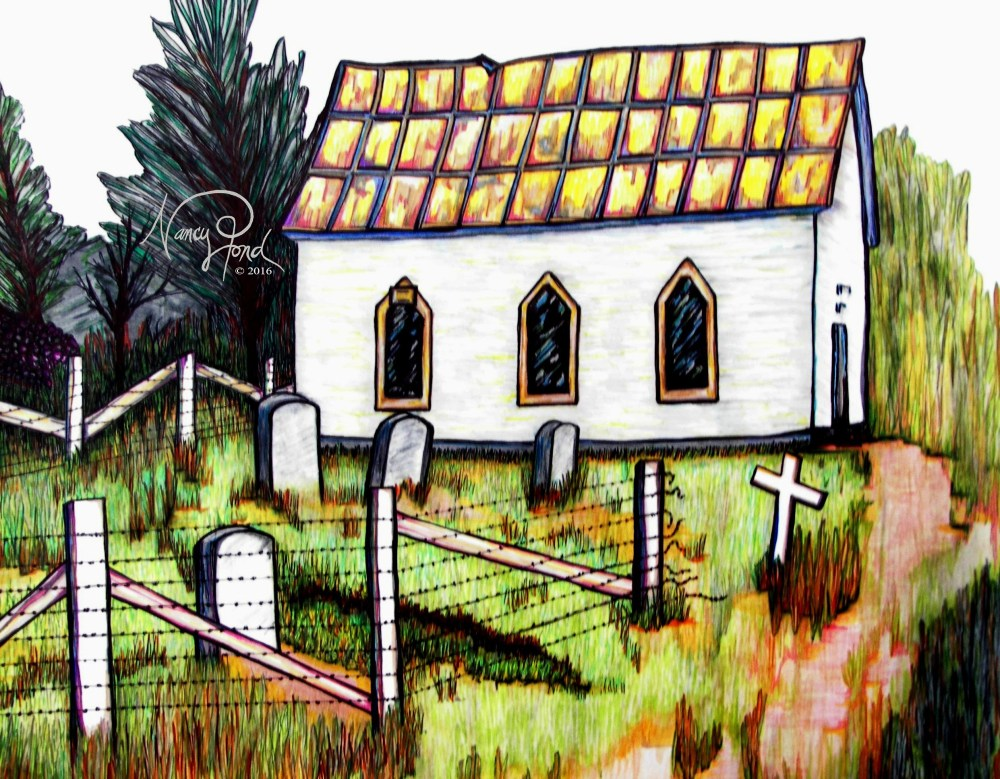 """Fred's Church"" Watercolor and Ink on Paper (2015 11x14 -- In Private Collection)"