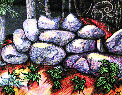 """""""Frost's Wall"""" Watercolor and Ink on Paper (2014 11x14 -- In Private Collection)"""