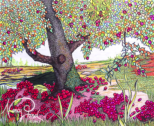 """""""Apple Tree"""" Watercolor and Ink on Paper (2014 17x14)"""