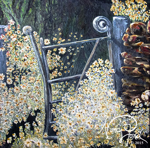"""Broken Gate"" Oil on MFB (2010 24x24)"