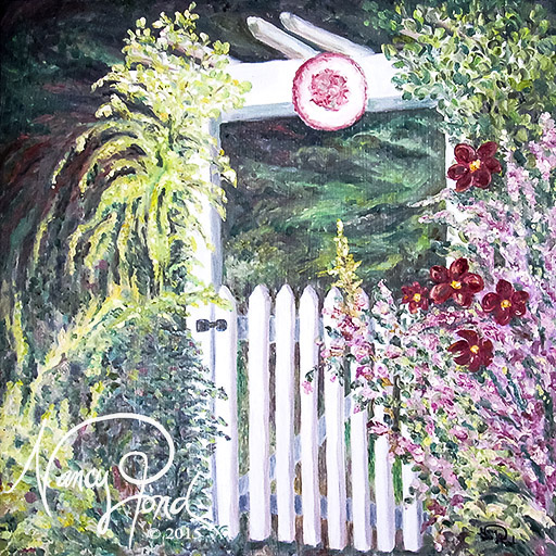"""Garden Gate"" Oil on MFB (2010 24x24)"