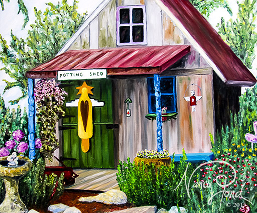 """Potting Shed"" Oil on MFB (2010 24x24)"