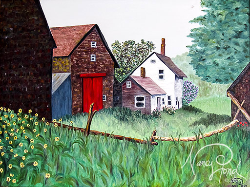 """Andover, NH Retired Farm"" Oil on MFB (2009 24x36)"
