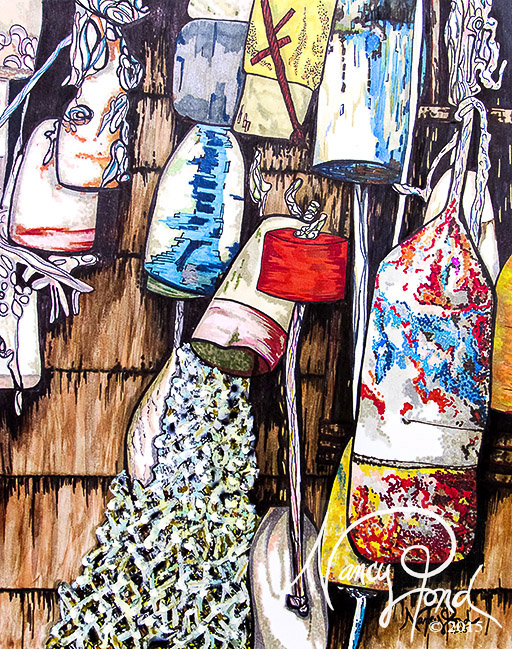 """Retired Buoys"" Watercolor and Ink on Paper (2015 11x14 -- In Private Collection)"