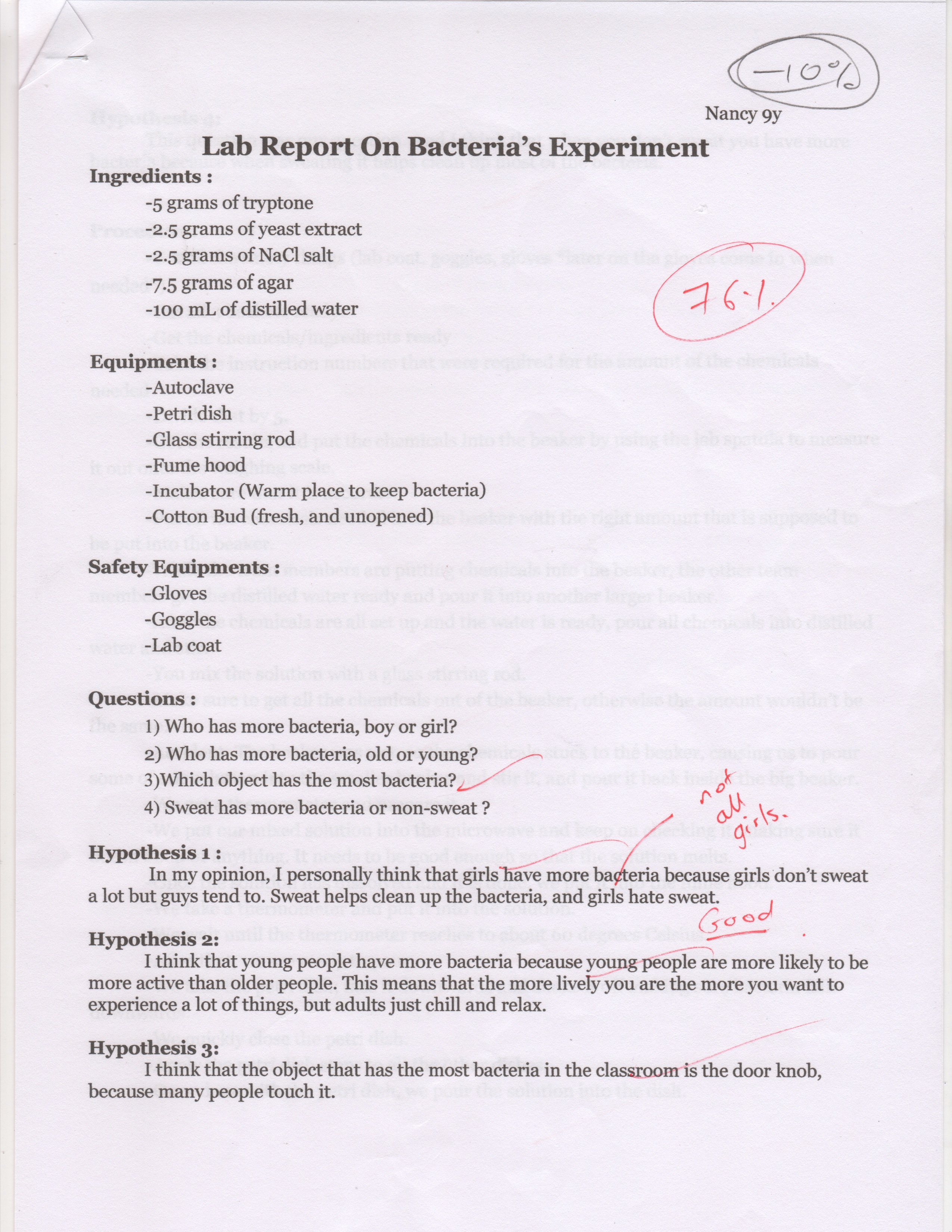 Lab Report On Bacteria Experiment