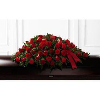 Tributo fúnebre con rosas rojas