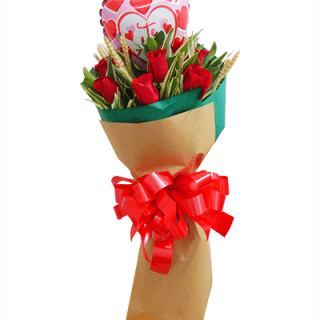 Ramo de rosas rojas con espigas para hombre