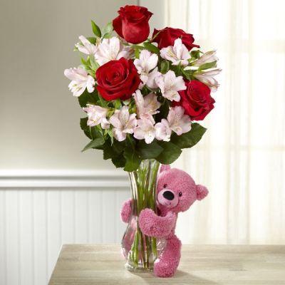 Florero con rosas y astromelia