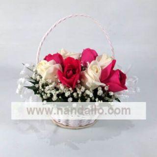 Canasta de rosas para boda