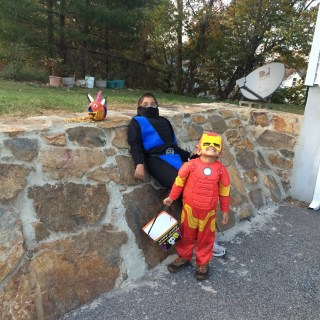 Ready for Trick-Or-Treat, Ninja and Iron Man