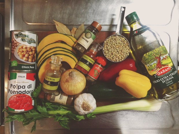 Ingredients for a Moroccan Stew with kabocha