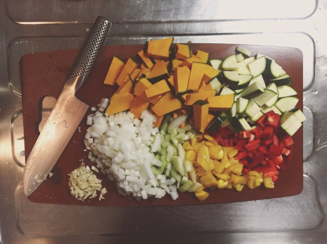 Chopped ingredients for Moroccan stew with kabocha