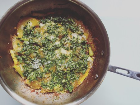 finished sweet potato and manchego tortilla with coriander mojo