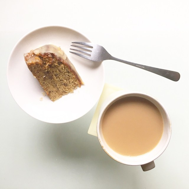 banana cake with cup of coffee