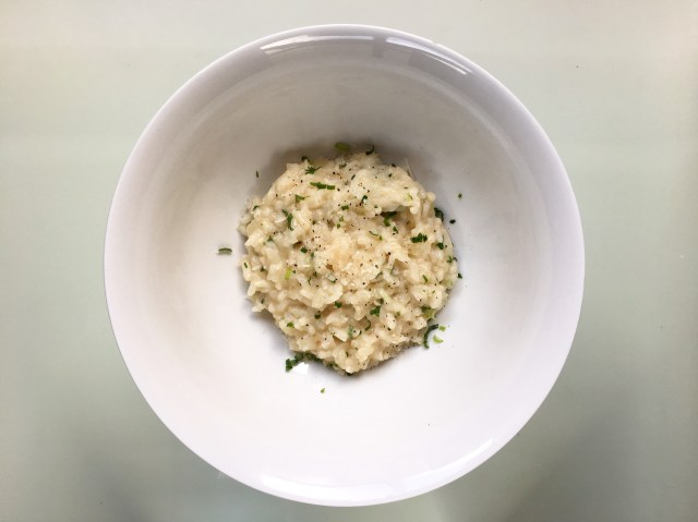 finished parmesan risotto with white wine and herbs