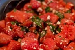 Watermelon, feta and mint salad.