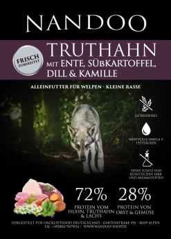 GPT-e1598429974475 Truthahn, Ente, Süßkartoffel, Dill & Kamille (kleine Rassen) 6kg (Kopie)