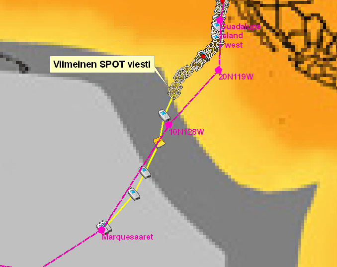 S/Y Nanea route and SPOT Satellite Messenger coverage