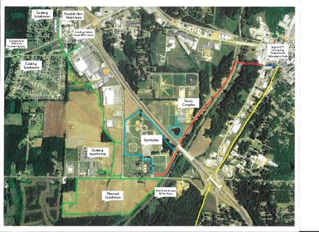 Green Line on plat indicates land being donated to connect subdivisions and hotels to the Tanglefoot Trail. See Legend for further details