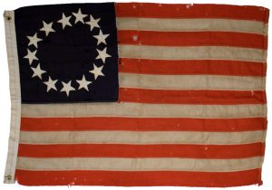 "The ""Betsy Ross"" flag. The Flag Resolution did not specify the arrangement of the stars nor the specific proportions of the flag. So many 13-star flags were used."