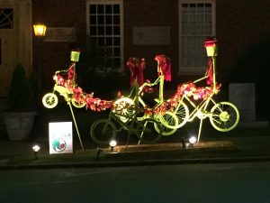 The Union County Master Gardeners created this unique family of cyclists, which can be found traveling East Bankhead St. in front of the old post office building.