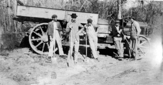 This South Mississippi road, the Centennial Highway north of Gulfport, circa 1917, seen in Mississippi Gulf Coast Community College Archives photo, was typical of MS roads of that period.