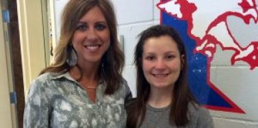 Amanda Alexander, of the Ole Miss Club, is pictured with Olivia High, of Ingomar High School