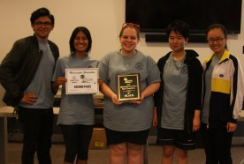 Second Place Winners: Left to Right: Isaac Estrada, Yesenia Rivera, Lindsay Sappington, Michelle Luo, KeXin Weng Photo by Kathy Dogan, MSWCC