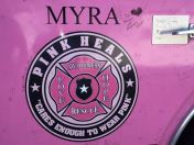 "The ""Pink Heals"" fire truck, Myra, named for the aunt of David White, of Pontotoc"