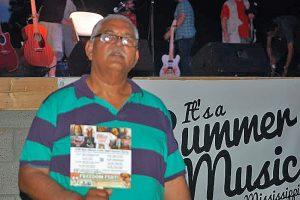 Maharaj Hanish, of Johannesburg, South Africa, enjoying the blues in New Albany