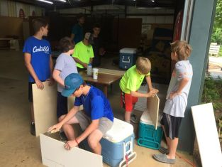 Troop 17 at work on the Baily Chair project