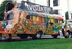 "California, 1960's: A few of our readers are old enough to remember when counter culture novelist Ken Kesey gave a 1939 International Harvest school bus a wild psychedelic paint job. Kesey named the bus ""Further,"" filled it with hippies and party accouterments, and , in 1964, took it on its famous, wild, drug-fueled trip from California to New York."