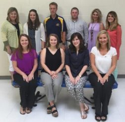 The New Albany School District hosted an orientation for its new teachers on July 29 at New Albany Elementary School. Pictured are front row l-r: Kalee Stanton, NAHS; Lacey Cutrer, NAES; Lydia Harding, NAHS; Morgan Mahan, NAMS; back row l-r: Misty Mathis, NAES; Kayla Rakestraw, NAES; Phillip Laney, NAHS, Greg Kennedy, NASTUC; Summer Sharplin, NAES; Corie Hill, NAHS.