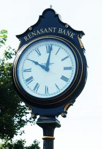 Face of custom made clock gifted by Renasant Bank