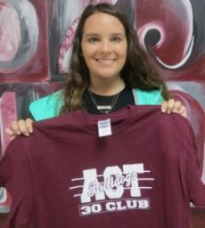 New Albany High School presented an ACT 30+ Club t-shirt to Racheal McCullough on Thursday, October 20 for her recent success on the ACT. Students who have a composite or subscore of 30 or more on their recent ACT are inducted into the club. One hundred eleven students have become members of the ACT 30+ Club since its creation in the fall of 2009.