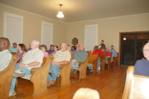 This photo shows about a third of the people present for the Town Hall meeting Monday night, Oct. 10, at Ebenezer Presbyterian Church.