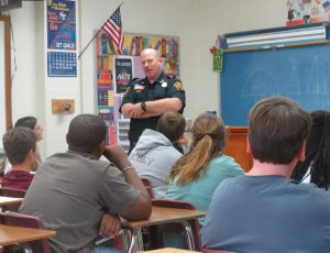 Chief Chris Robertson with the New Albany Police Department spoke to 8th grade classes at New Albany Middle School on October 27. Robertson spoke to the students about good decision making. School nurses have recently been conducting Life Skills lessons with the 8th graders and invited Robertson to share about the dangers of drugs and alcohol