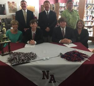 NAHS Bulldog golfers Dean Garrett and Boone Faulkner signed with Itawamba Community College on November 1. Pictured front row l-r: Melissa Garrett, Dean Garrett, Boone Faulkner, and Cecily Faulkner; back row l-r: Tom Garrett, NAHS Athletic Director and Head Golf Coach Shane Sanderson, and Mike Faulkner.