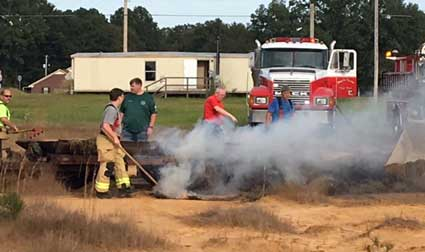 Hay wagon fire smoke