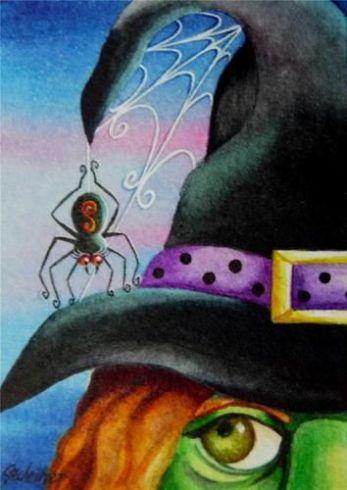 image sorcière et araignée