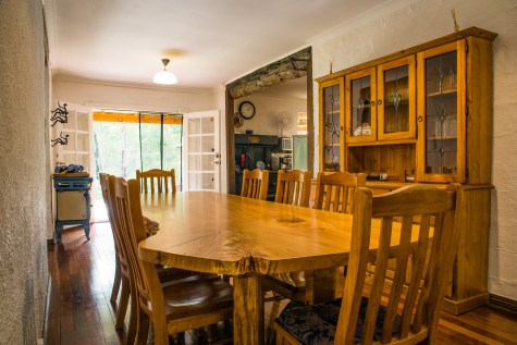 Nannup Bush Retreat - The dining room, with a lot of space and a big homemade jarra table to enjoy beautiful meals