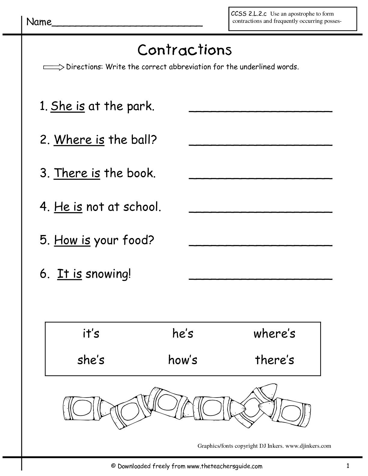 Contraction Worksheets 1st Grade