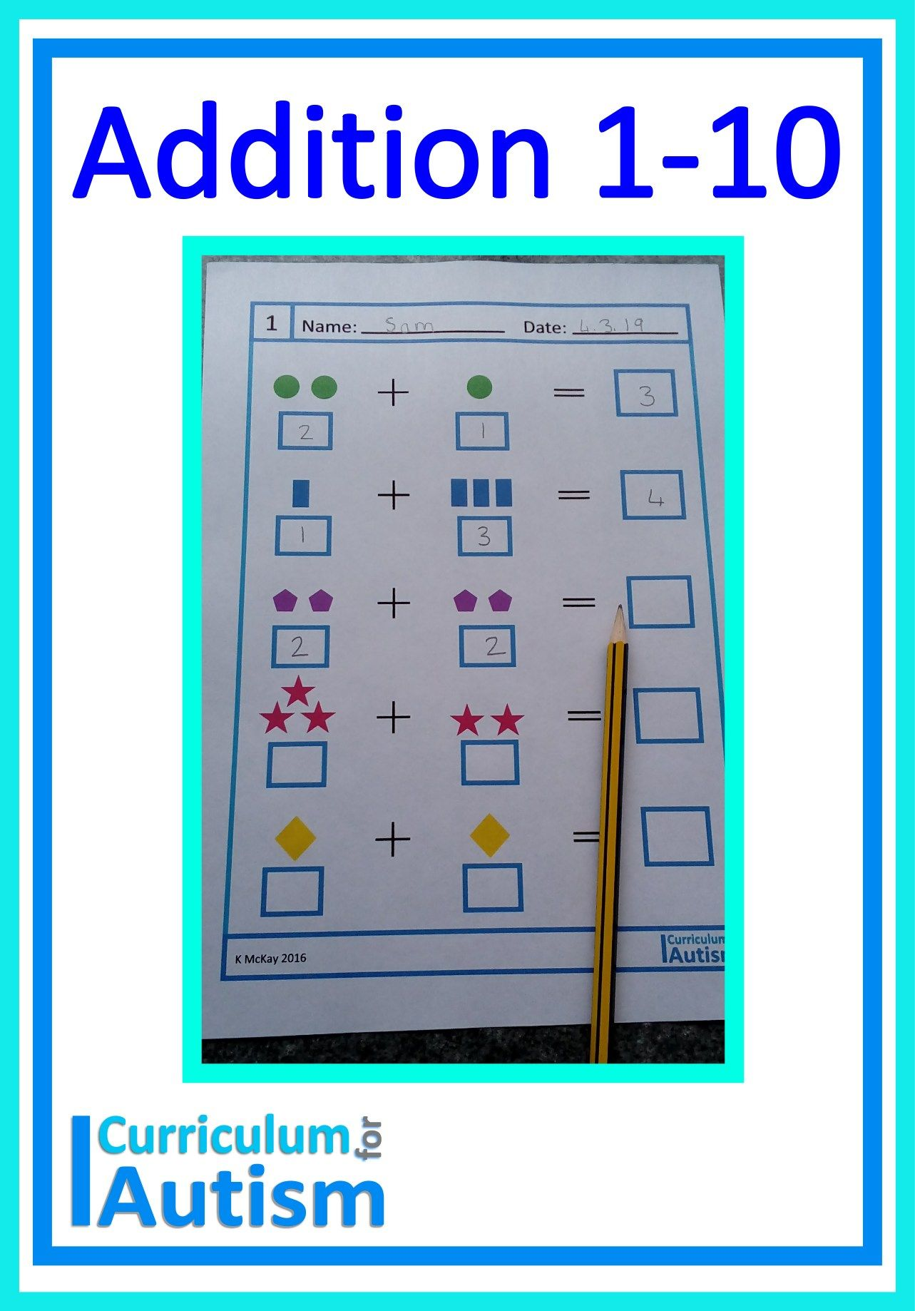 Addition 1 10 No Prep Visual Worksheets For Your Autism
