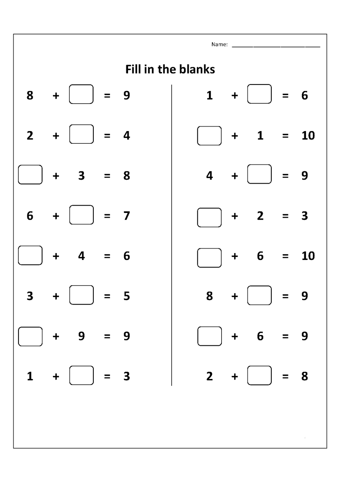 Elementary Math Worksheets 1st Grade