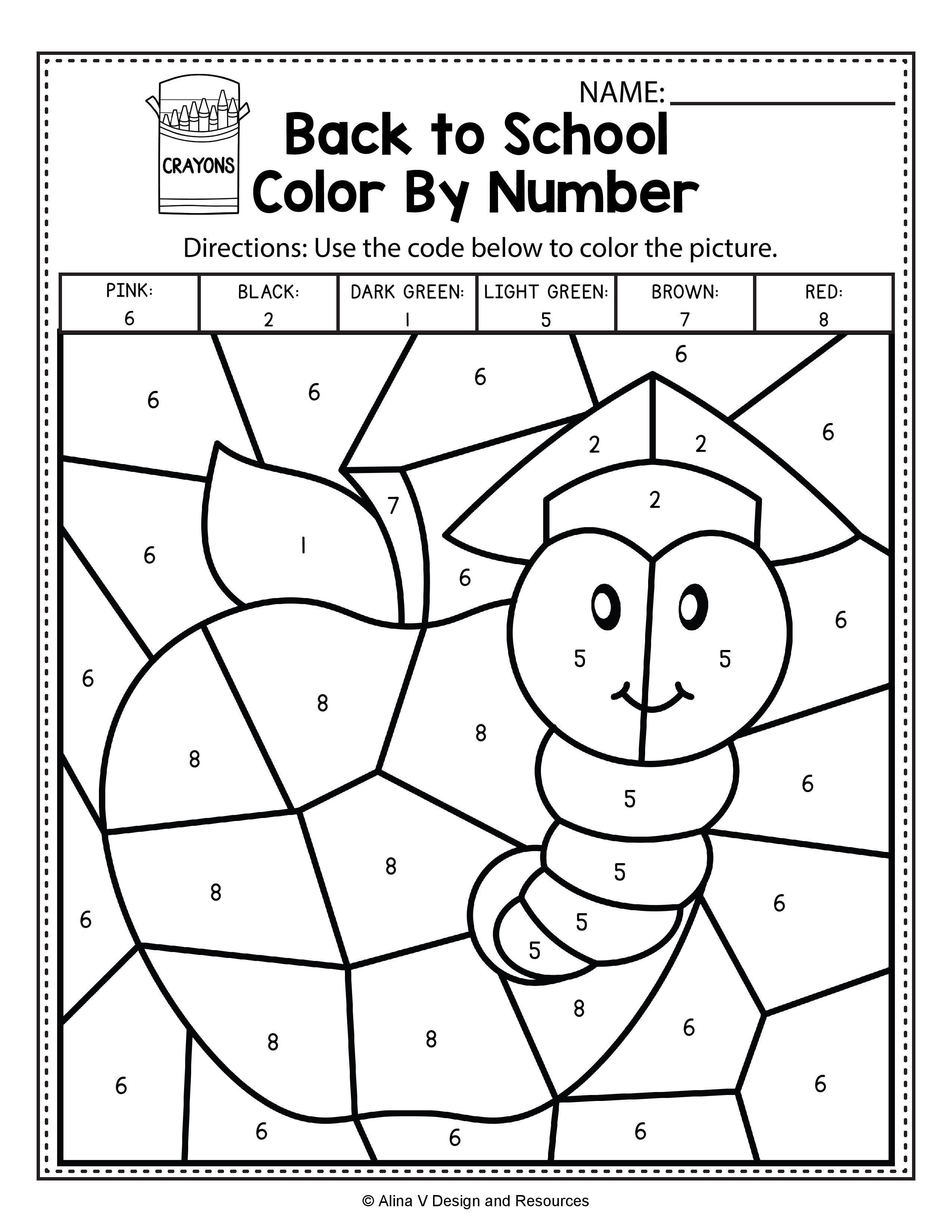 Back To School Color By Number Math Worksheets And